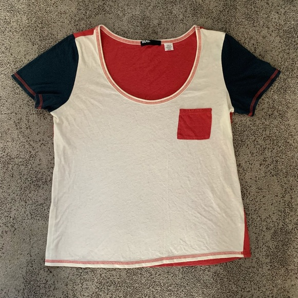BDG Tops - BDG | Red, White, and Blue Color Block T Shirt